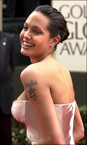 inked on her shoulder showing her ex husband's name, Billy Bob Thorton.