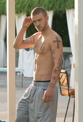 Justin Timberlake's tattoos from the movie Alpha Dog. alpha tattoo.