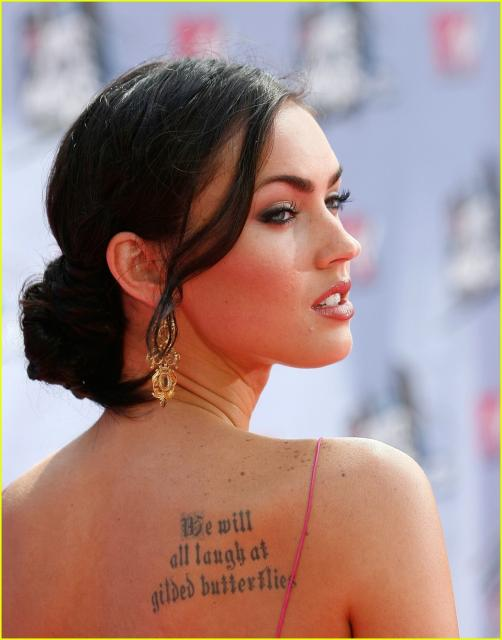Megan Fox Smile. Megan Fox tattoos: Between